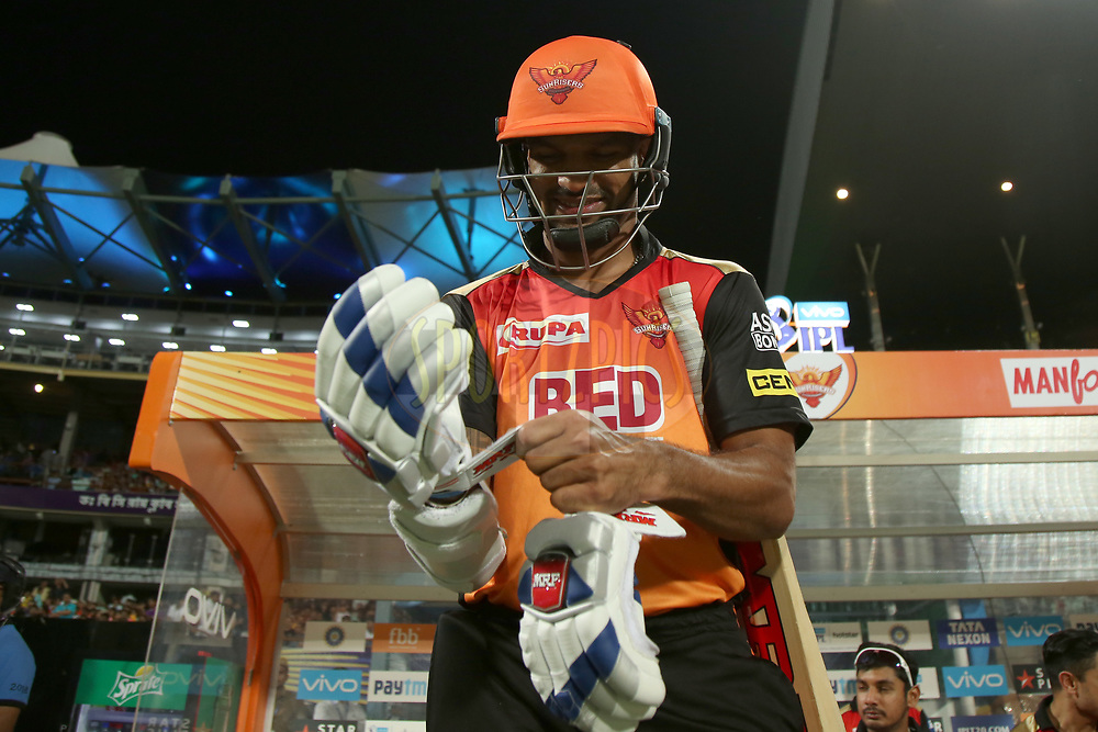 Shikhar Dhawan of the Sunrisers Hyderabad during match ten of the Vivo Indian Premier League 2018 (IPL 2018) between the Kolkata Knight Riders and the Sunrisers Hyderabad held at the Eden Gardens Cricket Stadium in Kolkata on the 14th April 2018.<br /> <br /> Photo by: Deepak Malik / IPL/ SPORTZPICS