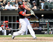 """CHICAGO - AUGUST 27:  Jose Abreu #79 of the Chicago White Sox bats against the Detroit Tigers during """"Players Weekend"""" on August 27, 2017 at Guaranteed Rate Field in Chicago, Illinois.  (Photo by Ron Vesely/MLB Photos via Getty Images)  *** Local Caption *** Jose Abreu"""