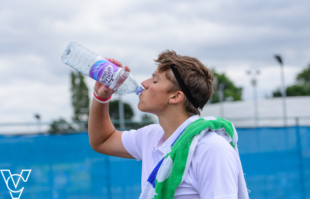 Glanville Cup - Culford School A [1] - Joe Tyler<br /> <br /> Team Tennis Schools National Championships Finals 2017 held at Nottingham Tennis Centre.  <br /> <br /> Picture: Chris Vaughan Photography for the LTA<br /> Date: July 14, 2017