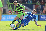 North Ferriby United defender Robbie Tinkler (16) tackles Forest Green Rovers midfielder Charlie Cooper (20) 0-0 during the Vanarama National League match between Forest Green Rovers and North Ferriby United at the New Lawn, Forest Green, United Kingdom on 1 April 2017. Photo by Alan Franklin.