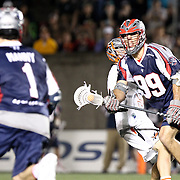 Paul Rabil #99 of the Boston Cannons controls the ball during the game at Harvard Stadium on May 10, 2014 in Boston, Massachusetts. (Photo by Elan Kawesch)