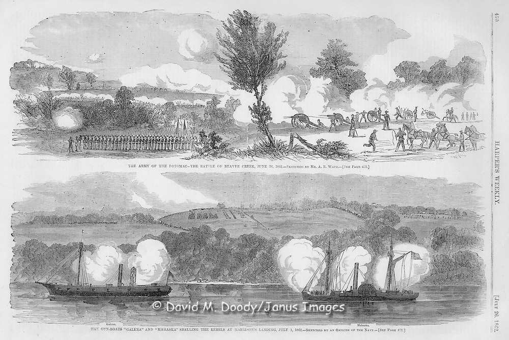"""Civil War: Virginia SCENES IN AND ABOUT THE ARMY OF THE POTOMAC.--SKETCHED BY MR. A. R. WAUD.--[SEE PAGE 471.]. Harper's Weekly  July 26, 1862  Page 470  BATTLE OF BEAVER CREEK,.where McCall's division, in Fitz-John Porter's corps, was attacked on 26th by an overwhelming force of rebels. We gave an account of the battle in our last number. Mr. Waud says: """"This battle was fought by McCall's division, Thursday, June 26. The enemy having made a bridge below Mechanicsville, with a view to passing the swamp and cutting off McCall's command from the rest of the army, that General withdrew his forces across Beaver Creek. Here the rebels attacked him, the fight lasting till after dark, when, having repulsed the enemy, McCall fell back still further, in pursuance of McClellan's plan of drawing his right wing across the Chickahominy, and taking the James River for the base of operations."""" We will add the following description of the country from the Tribune correspondence:..The battle was fought in dense woods. Our forces were posted on the south side of a belt of forest on a line nearly two miles long, the general course of which was nearly parallel with the Chickahominy. The woods vary in depth from 40 to 100 rods; a small stream flows the entire length, and the ascent on either side is quite sharp. Cultivated fields cover the brow and crest of the hills on either side and in the right rear of our position extend half a mile to the bottom land of the Chickahominy. On the left the fringe of woods reaches to this bottom land. At 11 A.M., when I reached the field, our pickets occupied the top of the hill across the ravine along its whole winding length. They reported a battery of the enemy at Gainer's House, a mile north in his left rear, and numbers of rebel, in distinct view. This battery soon exchanged shots with guns on our right. Half an hour later they saluted our left with an occasional shell from a position so far westerly as to enfilade our line. Meanwhile, an occasio"""