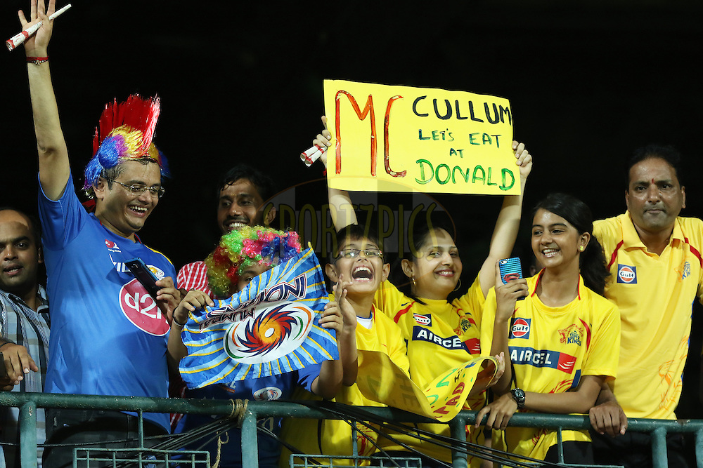 Fans during match 43 of the Pepsi IPL 2015 (Indian Premier League) between The Chennai Superkings and The Mumbai Indians held at the M. A. Chidambaram Stadium, Chennai Stadium in Chennai, India on the 8th May April 2015.<br /> <br /> Photo by:  Saikat Das / SPORTZPICS / IPL