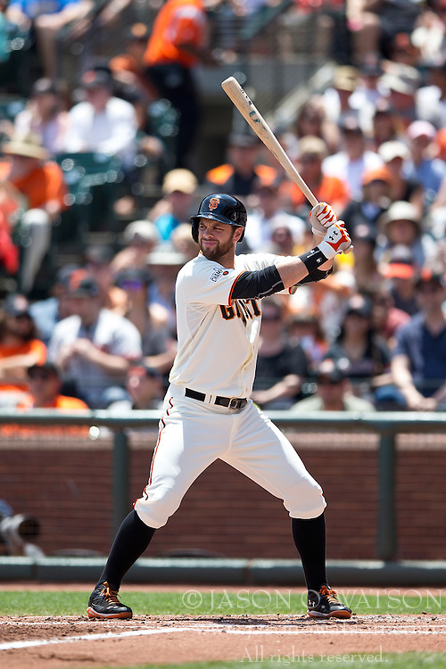 SAN FRANCISCO, CA - JULY 12:  Brandon Belt #9 of the San Francisco Giants at bat against the Philadelphia Phillies during the second inning at AT&T Park on July 12, 2015 in San Francisco, California.  The San Francisco Giants defeated the Philadelphia Phillies 4-2. (Photo by Jason O. Watson/Getty Images) *** Local Caption *** Brandon Belt