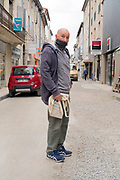 food shopper waiting outside portrait during Covid 19 crisis France Limoux April 2020