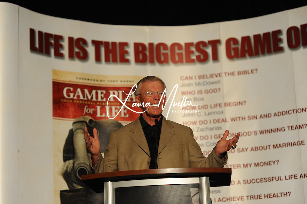 5/28/10 Joe Gibbs talks about his book 'Game Plan for Life' early Friday morning at the Embassy Suites Hotel in Concord..      The Coach and NASCAR team owner began the day speaking to a group of about 800, mostly business men. .        His second speaking engagement of the morning was at The Charlotte Correctional Center, a minimum security prison in Charlotte. photo © Laura Mueller 2010