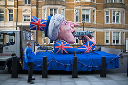 © Licensed to London News Pictures. 09/05/2017. London, UK. An effigy of Prime Minister Theresa May is seen parked outside BBC Broadcasting House as she and her husband Philip appear on the One Show. Mr and Mrs May are appearing together on the prime time show ahead of various appearances by all party leaders on TV in the run up to the general election on June 8, 2017. Photo credit: Peter Macdiarmid/LNP