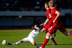 Mitja Lotric of Slovenia vs Aaron Oakley of Wales during U-19 football game between National teams of Slovenia and Wales in Qualifying Round of European Under-19 Championship 2012, on September 26, 2011, in Slovenska Bistrica, Slovenia. (Photo by Vid Ponikvar / Sportida)