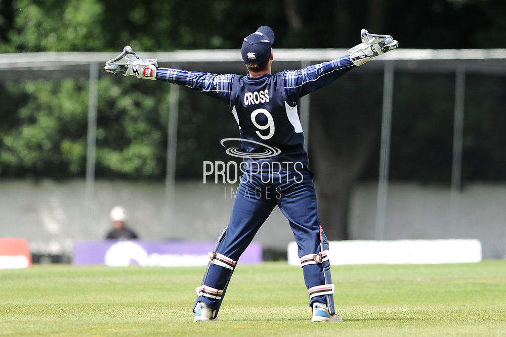 Wicket keeper Mathew Cross celebrates as team mate Alasdair Evans bowls out Viljoen LBW during the World Cricket League match between scotland and Namibia at Grange Cricket Club, Edinburgh, Scotland on 13 June 2017. Photo by Kevin Murray.