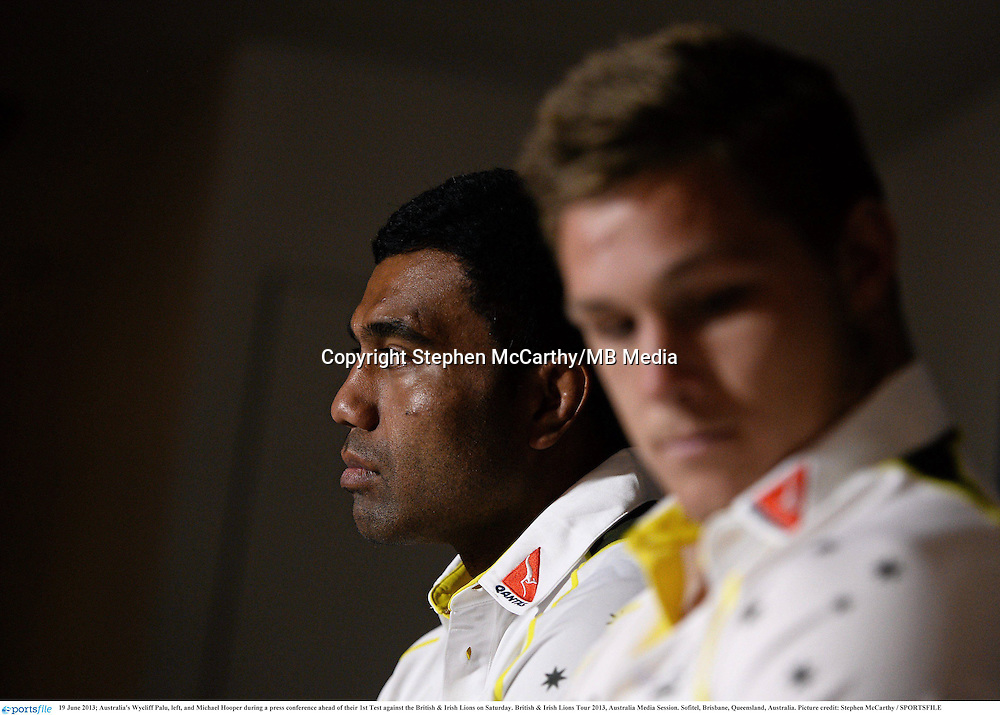 19 June 2013; Australia's Wycliff Palu, left, and Michael Hooper during a press conference ahead of their 1st Test against the British & Irish Lions on Saturday. British & Irish Lions Tour 2013, Australia Media Session. Sofitel, Brisbane, Queensland, Australia. Picture credit: Stephen McCarthy / SPORTSFILE