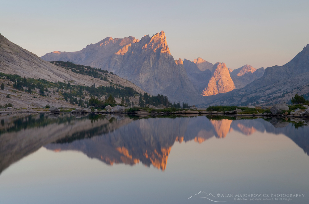 Cirque of the Towers seen from Deep Lake, Bridger Wilderness in the Wind River Range of the Wyoming Rocky Mountains