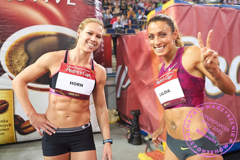 (L-R) Carina Horn from South Africa and Ivet Lalova from Bulgaria pose to the picture after women's 60 meters during athletics meeting Pedro's Cup at Atlas Arena in Lodz, Poland.<br /> <br /> Poland, Lodz, February 17, 2015<br /> <br /> Picture also available in RAW (NEF) or TIFF format on special request.<br /> <br /> For editorial use only. Any commercial or promotional use requires permission.<br /> <br /> Adam Nurkiewicz declares that he has no rights to the image of people at the photographs of his authorship.<br /> <br /> Mandatory credit:<br /> Photo by &copy; Adam Nurkiewicz / Mediasport
