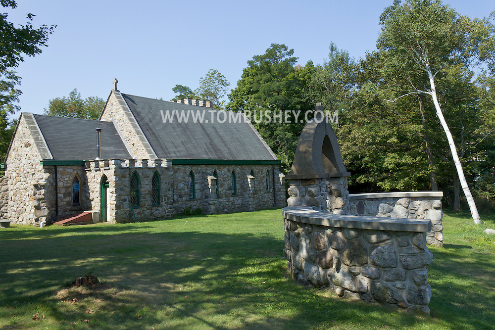 Cragsmoor, New York -The historic Chapel of the Holy Name, also known as The Stone Church, on the Shawangunk Ridge on Aug. 30, 2012.  The church, built of stone from the mountain,  was designed by Frederick Dellenbaugh and constructed privately from 1895 to 1897 through the generosity of Eliza Hartshorn.