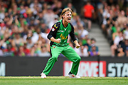 17th February 2019, Marvel Stadium, Melbourne, Australia; Australian Big Bash Cricket League Final, Melbourne Renegades versus Melbourne Stars; Adam Zampa of the Melbourne Stars celebrates the wicket of Cameron White of the Melbourne Renegades