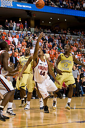 Virginia guard Sean Singletary (44) hits a circus shot at the end of the second half to force overtime against Georgia Tech.  The Virginia Cavaliers men's basketball team fell to the Georgia Tech Yellow Jackets 92-82 in overtime at the John Paul Jones Arena in Charlottesville, VA on January 27, 2008.