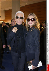 © Serge Arnal/ABACA. 51016-12. Paris-France, 10/10/2003. Top model Kate Moss congratulates designer Karl Lagerfeld after the Chanel Ready-to-Wear Spring-Summer 2004 fashion show.