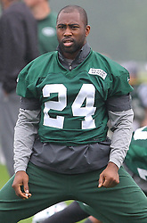 May 24, 2012; Florham Park, NJ, USA; New York Jets defensive back Darrelle Revis (24) stretches during the New York Jets OTA at their training facility.