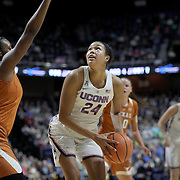 UNCASVILLE, CONNECTICUT- DECEMBER 4: Napheesa Collier #24 of the Connecticut Huskies prepares to shoot while defended by Joyner Holmes #24 of the Texas Longhorns during the UConn Huskies Vs Texas Longhorns, NCAA Women's Basketball game in the Jimmy V Classic on December 4th, 2016 at the Mohegan Sun Arena, Uncasville, Connecticut. (Photo by Tim Clayton/Corbis via Getty Images)