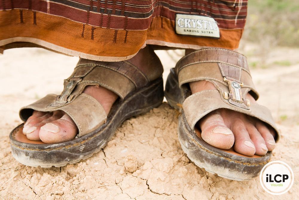 Sandals worn by Yemeni man, Hawf Protected Area, Yemen