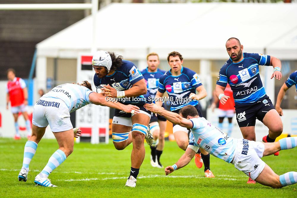 Sitaleki TIMANI / Jamie ROBERTS / Dimitri SZARZEWSKI  - 11.04.2015 - Racing Metro / Montpellier  - 22eme journee de Top 14 <br />Photo : Dave Winter / Icon Sport