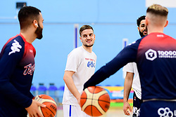 Lewis Champion of Bristol Flyers and Jordan Nicholls of Bristol Flyers and Chris Taylor of Bristol Flyers warms up prior to tip off - Photo mandatory by-line: Ryan Hiscott/JMP - 17/01/2020 - BASKETBALL - SGS Wise Arena - Bristol, England - Bristol Flyers v London City Royals - British Basketball League Championship