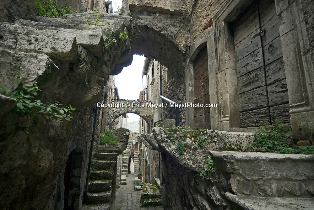 Gran Sasso National Park, Abruzzo, Italy, June 2008. Narrow streets and alleyways in the medieval village of Castelvecchio Calvisio.  Photo by Frits Meyst/Adventure4ever.com