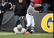 15 NOVEMBER 2008: Purdue wide receiver Aaron Valentin (17) tries to plead his case to the referee in the second half of an NCAA college football game against Purdue, at Kinnick Stadium in Iowa City, Iowa on Saturday Nov. 15, 2008. Iowa beat Purdue 22-17.