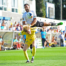 TELFORD COPYRIGHT MIKE SHERIDAN Brendon Daniels of Telford battles for a header during the National League North fixture between AFC Telford United and Nantwich Town on Saturday, September 21, 2019.<br /> <br /> Picture credit: Mike Sheridan<br /> <br /> MS201920-020