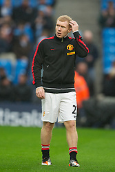 MANCHESTER, ENGLAND - Sunday, January 8, 2012: Manchester United's Paul Scholes comes out of retierment to help the ailing squad before the FA Cup 3rd Round match against Manchester City at the City of Manchester Stadium. (Pic by David Rawcliffe/Propaganda)