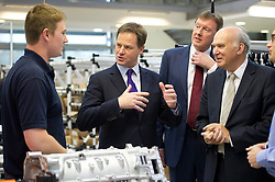 © London News Pictures. 23/09/2012. Brighton, UK.  Liberal Democrat Leader and Deputy Prime Minister, Nick Clegg and Liberal Democrat Business Secretary, Vince Cable meeting apprentices while on a visit to the Ricardo Shoreham Technical Centre in Shoreham-by-Sea on September 24, 2012. Photo credit : Ben Cawthra/LNP.