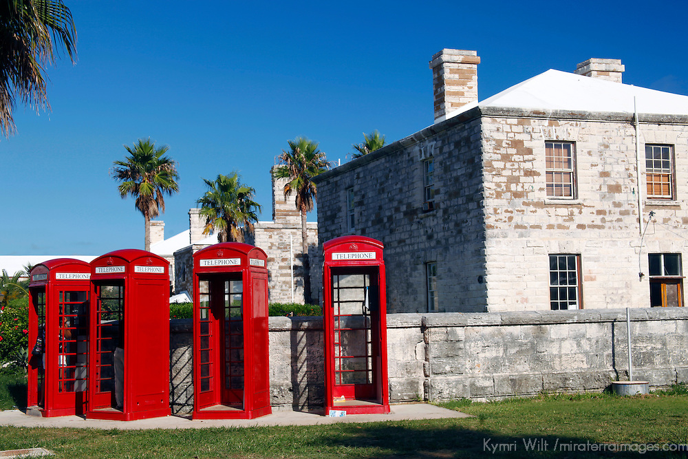 Bermuda, the West End. Phone booths at the Royal Naval Dockyard.