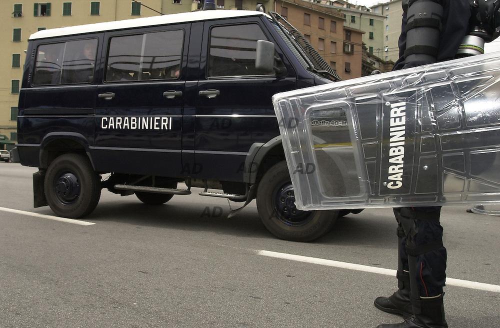 Carabinieri ready to clash.