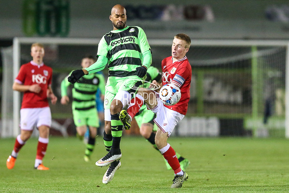 Forest Green Rovers Delano Sam-Yorke and Bristol City's Joe Morrell fight for the ball during the The County Cup match between Forest Green Rovers and Bristol City at the New Lawn, Forest Green, United Kingdom on 23 November 2015. Photo by Shane Healey.