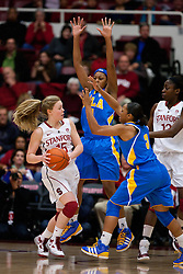 January 20, 2011; Stanford, CA, USA;  Stanford Cardinal guard Lindy La Rocque (15) is guarded by UCLA Bruins guard Darxia Morris (3)during the first half at Maples Pavilion.  Stanford defeated UCLA 64-38.