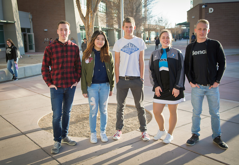 mkb120916/metro/Marla Brose120916<br /> From left, Joseph Etienne of France, Jiwon Choi of South Korea, David Wubbe of Germany, Silva Bisofa of Latvia and Henryk Kronsbein are some of the ten foreign exchange students at Cleveland High in Rio Rancho, N.M. (Marla Brose/Albuquerque Journal)