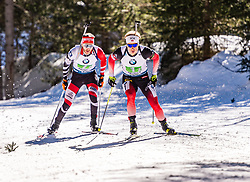 22.02.2020, Suedtirol Arena, Antholz, ITA, IBU Weltmeisterschaften Biathlon, Herren, 4 x 7,5 km Staffel, im Bild v.l. Simon Eder (AUT), Johannes Dale (NOR) // f.l. Simon Eder of Austria and Johannes Dale of Norway during men's 4 x 7,5 km Relay of IBU Biathlon World Championships 2020 at the Suedtirol Arena in Antholz, Italy on 2020/02/22. EXPA Pictures © 2020, PhotoCredit: EXPA/ Stefan Adelsberger