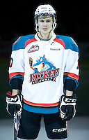 KELOWNA, CANADA, DECEMBER 27: Filip Vasko #10 of the Kelowna Rockets stands in the starting line up as the Spokane Chiefs visit the Kelowna Rockets on December 7, 2011 at Prospera Place in Kelowna, British Columbia, Canada (Photo by Marissa Baecker/Getty Images) *** Local Caption ***