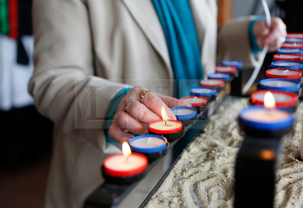 © Licensed to London News Pictures. 02/04/2012.  On the 30th anniversary of the Falklands Conflict veterans took part in a Remembrance service and lit a single candle in the Millenium Chapel at the National Memorial Arboretum in Alrewas, Staffordshire on April 2, 2012. Along with the service those present were invited to view the ongoing work on a new memorial, initiated by the South Atlantic Medal Association (SAMA 82), to remember the 255 UK servicemen who were killed during the Falklands war.  The memorial is set to be dedicated on the 20 May 2012 in the presence of over 600 veterans.  Photo credit: Alison Baskerville/LNP