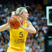 09 August 2012: Australia Samantha Richards looks to pass the ball during 86-73 Team USA victory over Team Australia, during the women's basketball semi-finals, at the 02 Arena, in London, Great Britain.