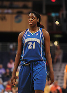 June 10, 2010; Phoenix, AZ, USA; Minnesota Lynx forward Nicky Anosike reacts against Phoenix Mercury during the first half at US Airways Center.  The Mercury defeated the Lynx 99-88.  Mandatory Credit: Jennifer Stewart-US PRESSWIRE