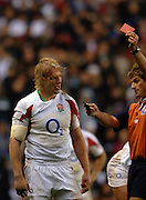 2005 Rugby, Investec Challenge, England vs Manu Samoa, Referee, Mark Lawrence, Show's Lewis Moody the red card for retaliation. as England beat Samoa 40 points to 3 at the RFU stadium, Twickenham, ENGLAND:     26.11.2005   © Peter Spurrier/Intersport Images - email images@intersport-images..