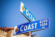 Ocean and Coast Blvd Street Sign in San Diego California