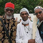 Trafalgar square, London, England, UK. 19th August 2017. Kevin Haynes is a ceremonail drummer the Slavery Remembrance National Memorial 2017 for the victims of the Transatlantic Slave Trade/African Holocaust. The wound hasn't healed, the nightmare arises repeat of imperialism and fascist rising in racist attacks in the UK and globally.