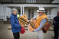 © Licensed to London News Pictures. 28/04/2017. London, UK. Liberal Democrat supporters hand out placards on Twickenham Green as Vince Cable launches his election campaign in a bid to return to Parliament.  Photo credit: Peter Macdiarmid/LNP