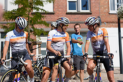 Lucinda Brand and Marianne Vos (Rabo Liv) chat ahead of sign in at the 121 km Stage 1 of the Lotto Belgium Tour 2016 on 7th September 2016 in Moorslede, Belgium. (Photo by Sean Robinson/Velofocus).