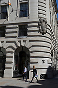 The exterior of Royal Exchange Buildings during the 2018 heatwave in the City of London, the capital's historic financial district, on 2nd August 2018, in London, England.