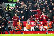 Liverpool defender Virgil van Dijk (4) celebrates his goal 1-0 during the Premier League match between Liverpool and Manchester United at Anfield, Liverpool, England on 19 January 2020.