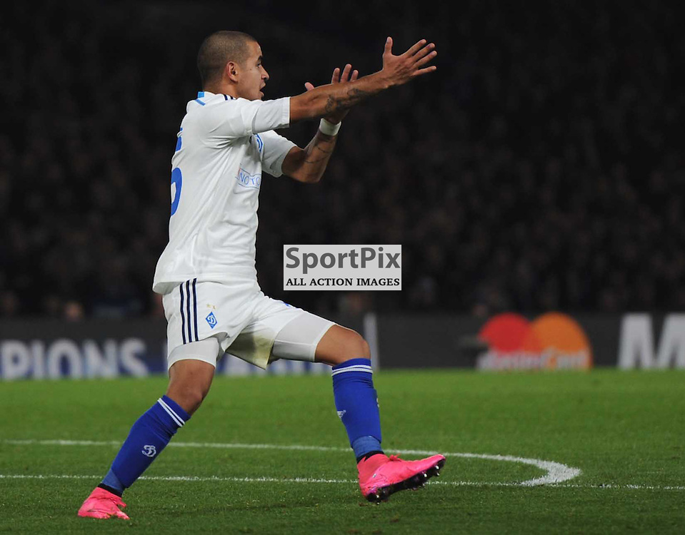 Dynamo Kievs Derlis Gonzalez signals for handball during the Chelsea v Dynamo Kiev champions league match in the group stage on the 4th November 2015