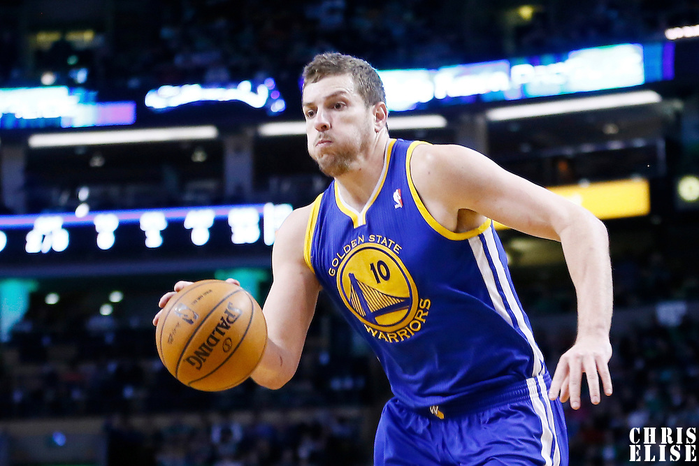 01 March 2013: Golden State Warriors power forward David Lee (10) dribbles during the Boston Celtics 94-86 victory over the Golden State Warriors at the TD Garden, Boston, Massachusetts, USA.