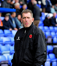 Not nice is it Stuart  - Photo mandatory by-line: Neil Brookman/JMP - Mobile: 07966 386802 - 08/11/2014 - SPORT - Football - Birkenhead - Prenton Park - Tranmere Rovers v Bristol Rovers - FA Cup - Round One